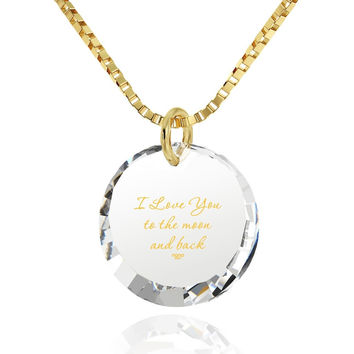 """I Love You to the Moon and Back"", 14k Gold Necklace, Cubic Zirconia"