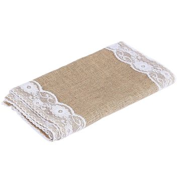 Luxury Burlap and Lace Table Runner Wedding Decoration Natural Jute Lace Vintage Tablecloth Restaurant Home Textile 30x275 CM