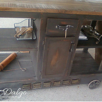 Unique Industrial Tall Kitchen Island Cart with Lots of Storage Space