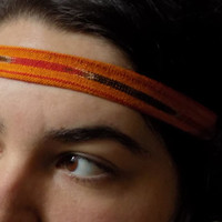 Burnt Orange w/ Red and Brown Stripe Aztec Headband-Vintage Fabric - Free Shipping to Continental US