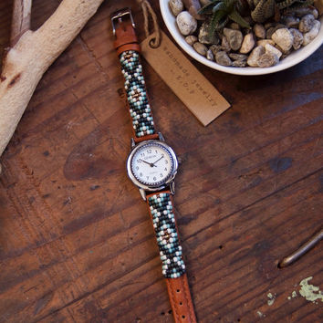 BLW-03, Free U.S. shipping,Native American inspired hand-beaded genuine leather watch