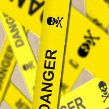 'DANGER' Yellow Warning Caution Tape w/ Skull & Crossbones - Plywood Wood Print Poster Wall Art
