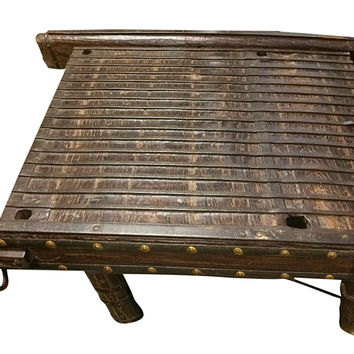Antique Indian Eclectic Ox Cart Coffee Table with Brass Iron Accents
