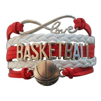 Girls Basketball Infinity Charm Bracelet - Red