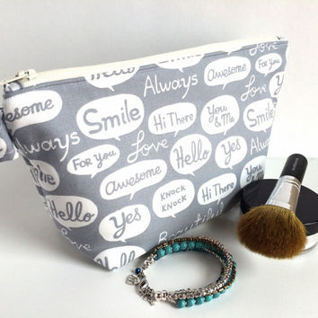 Gray Makeup Bag, Words Cosmetic Bag, Bridesmaid Gift