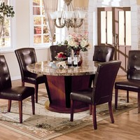 7 pc Bologna brown marble round top dining table set with brown leather like vinyl upholstered parson chairs