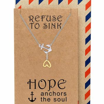 Cerys Hope Heart Lariat Nautical Anchor Necklace, Christian Jewelry, Sympathy Gifts, Inspirational Quotes on Greeting Card, Two Tone