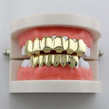 Genboli Teeth Grillz Smooth Plane Teeth Braces Top & Bottom Teeth Grillz Body Jewelry Halloween Party Gift Hip Hop Hot Sales