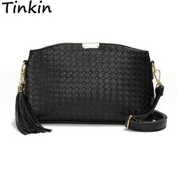 Tinkin Small Weave Women Bag Simple Women Shoulder Bag Tassel Women Messenger Bag Knitted Cross Body Bag