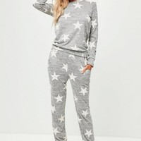 Missguided - Grey Star Print Lounge Set