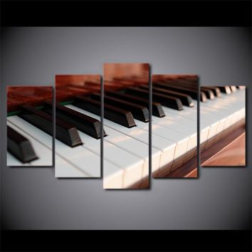 5 Piece Canvas Art Piano Keys Music Canvas Painting Home Decor Wall Picture