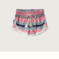 Patterned Lace Hem Sleep Shorts