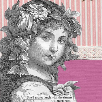Pink Funny Friendship Card for Sinners Blank Note Card Victorian Vintage Style Collage Art Card - Everyone Have Fun