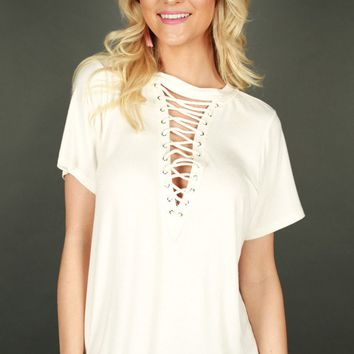 Gotta Have It Lace Up Top In White