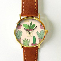 Cactus Plant Watch, Women Watches, Leather Watch, Succulents, Vintage Style