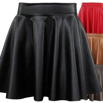 Shop Faux Leather Skater Skirt on Wanelo