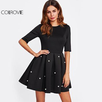 COLROVIE Pearl Beading Black Flare Dress Cute Boxed Pleated Women Empire Mini Summer Dresses 2017 Zip Basic Elegant A Line Dress