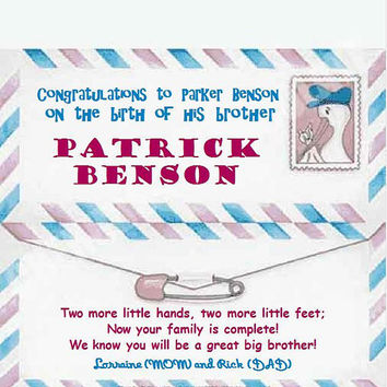 Personalized Greeting Wrapper, Baby shower, New Baby, Birth Announcement, Congratulations Cards