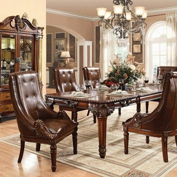 Acme 60075 7 pc winfred cherry finish wood 4 leg dining table set with tufted leather like fabric upholstered chairs with decorative carved arms