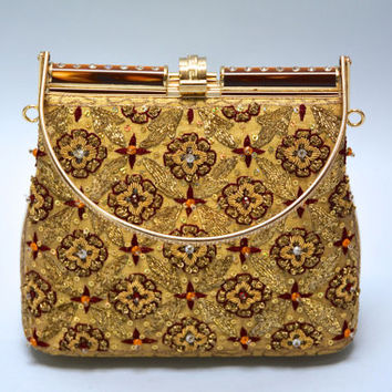 Embroidered Indian Purse - Vintage Gold Tone Frame Handbag With Sequins Beaded Bullion Embroidery Rhinestones Fancy Evening Bag Box Purse