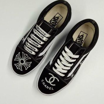 DCCKIJG Vans x Chanel x Chrome Hearts Classics Old Skool Flower Flats Shoes Sneakers Sport Sho