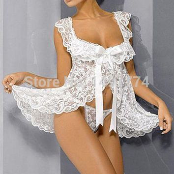 DCK9M2 White Lace Baby Doll Sexy Lingerie Plus Size 4XL Bridal Nightgown Sets