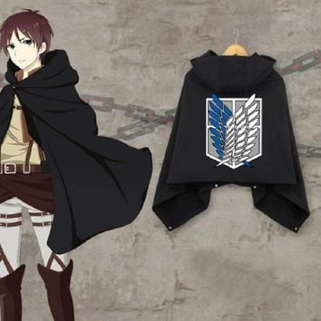 Cool Attack on Titan  winten thicken Cloak scouting legion Cape Coat men women warm hooded mantle Eren Mikasa anime Cosplay Costume AT_90_11