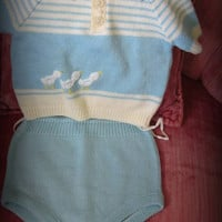 Baby Boy Blue Knit Two Piece Vintage Suit Original VL