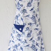 Blue Toile Apron, Birds and Flowers, Vintage Inspired Apron, Full Apron , Wedgewood Blue, Cobalt Blue Apron, KitschNStyle