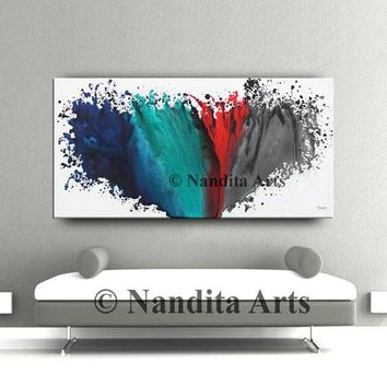 """Abstract Art, Large Wall Art Painting, Original Modern Painting Blue Teal Red Gray Multicolored Modern Home Decor by Nandita 24x48""""/61x122cm"""