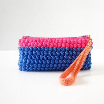 Crochet zipper clutch purse, wristlet in cobalt blue and neon pink ...