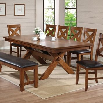 Acme 70000 8 pc apollo country kitchen style distressed walnut finish wood pedestal dining table set