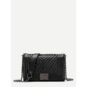 Chevron Stitch PU Chain Crossbody Bag
