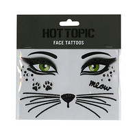 Black Cat Temporary Face Tattoos | Hot Topic