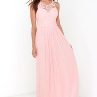 So Far Gown Peach Lace Maxi Dress