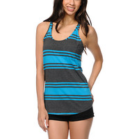 Zine Girls Blue & Grey Stripe Racerback Tank Top