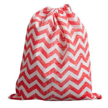 Give Bliss (Cherry Chevron) Upcycled Drawstring Bag