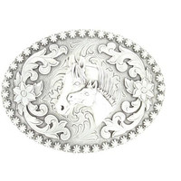 Nocona Oval Silver Two Horse Head Center Floral Belt Buckle