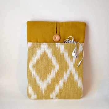 Laptop Bag - Macbook Sleeve Cord Pocket, Pro Retina Display or Air 13 inch Ethnic ikat Mac Book Case Cover Unisex Pouch Mustard Yellow Linen