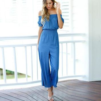 Off Shoulder Elastic Waist Puff Short Sleeve Wide Leg Long Jumpsuit