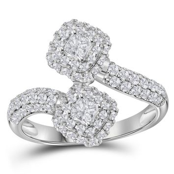 14kt White Gold Womens Princess Diamond 2-stone Hearts Together Bridal Wedding Engagement Ring 2.00 Cttw (Certified)
