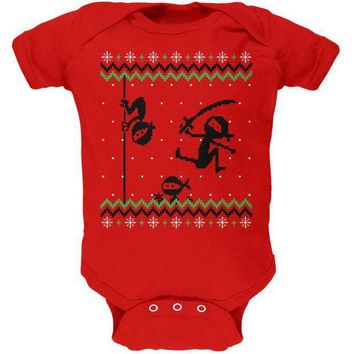 ICIK8UT Ninja Ninjas Attack Ugly Christmas Sweater Soft Baby One Piece