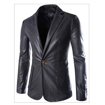New Spring Leather Coat Jackets For Men Casual Male Leather Jacket Outwear Suede Jackets Men