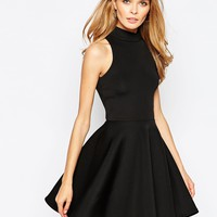 Oh My Love High Neck Skater Dress in Scuba