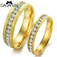 Fashion Frosted Gold Color Finger Rings Titanium Steel Women Men Couples Austria Crystal Luxury Noble Jewelry Best Gifts OR362