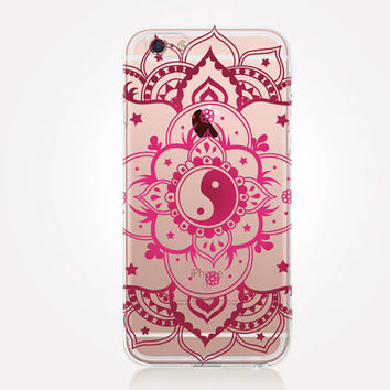Transparent Yin-Yang Mandala iPhone Case- Transparent Case - Clear Case - Transparent iPhone 6 - Transparent iPhone 5 - Transparent iPhone 4
