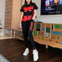 """ GUCCI"" Woman Casual Wild Fashion Letter Printing Short Sleeve Cropped trousers Two-Piece Set Casual Wear"