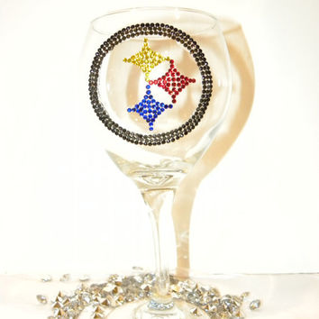 Pittsburgh Steelers Rhinestone Wine Glass