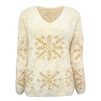 ZLYC Woven Metallic Christmas Snowflake Fluffy Jumper in Mohair Mix for Women