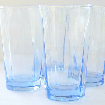 Blue Anchor Hocking Ice Tea Glasses Set of 4, Vintage Modern Tea Party Glassware, Barware, Wedding, Lemonade Glassware